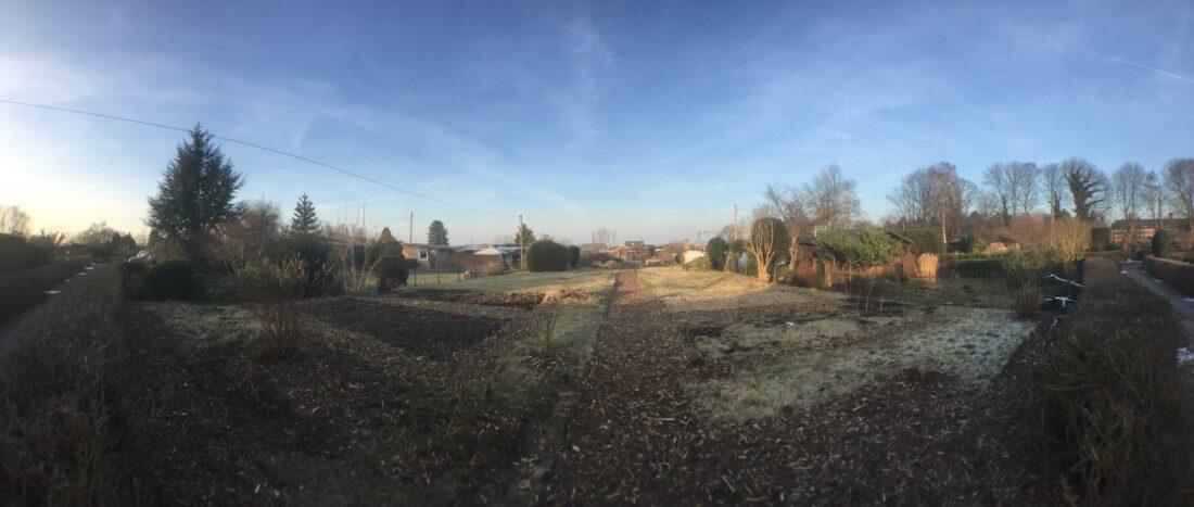 Kleingarten mit frisch angelegten Beeten und Wegen aus Rindenmulch.